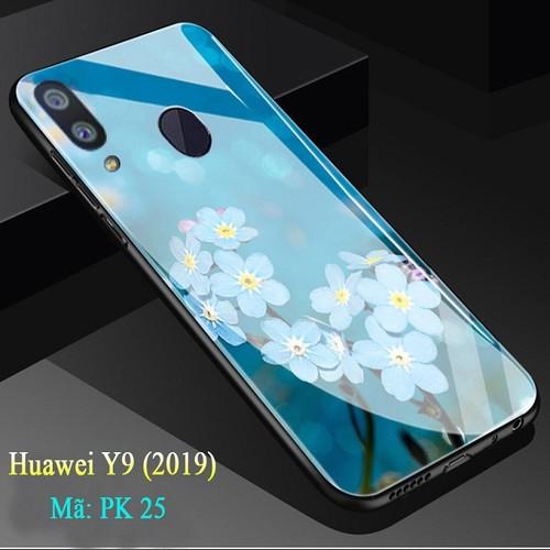 Ốp lưng huawei y9 mặt kính cường lực 3d hoa lan