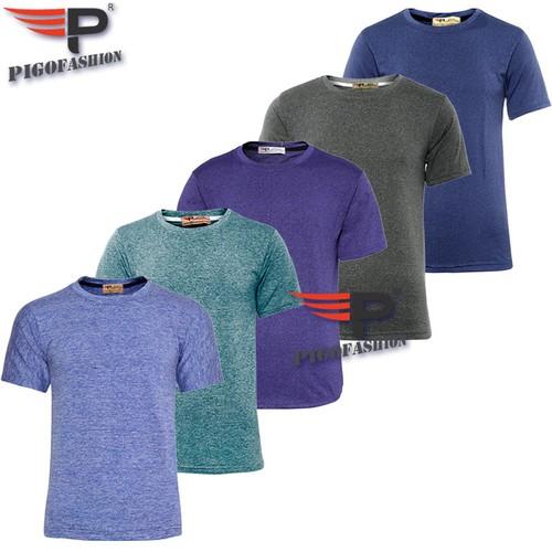 Bộ 5 áo thun nam cổ tròn pigofashion thể thao gym gm02 -5- xanh công, xám đậm, xanh bích, xanh đốm vịt, xanh biển