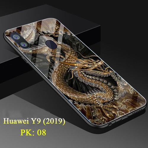 Ốp lưng huawei y9 mặt kính cường lực 3d rồng