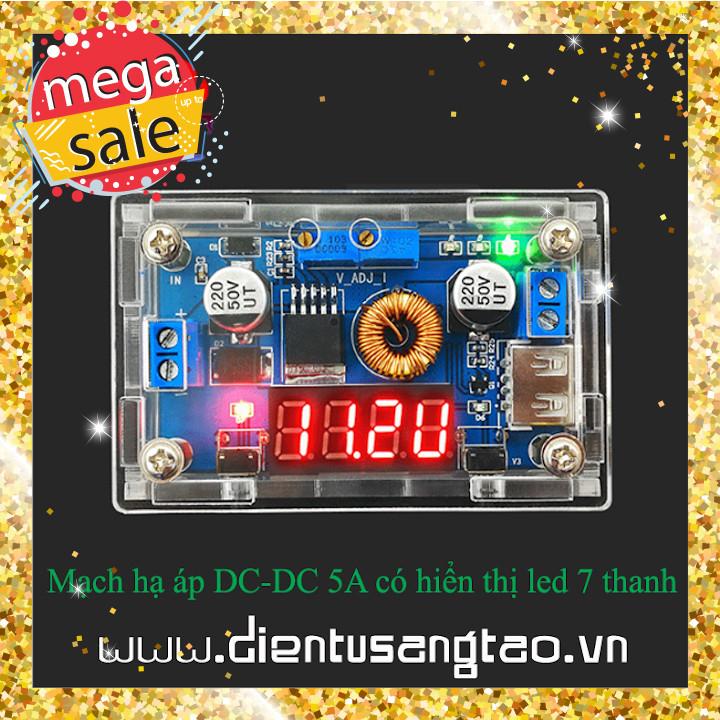 Mạch nguồn hạ áp DC 5A chỉnh dòng áp hiển thị led có vỏ mica dùng làm nguồn đa năng, sạc pin lithium