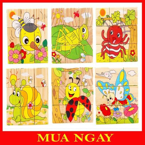 Đồ chơi tranh ghép gỗ 6 mặt - xếp hình 3d cho bé