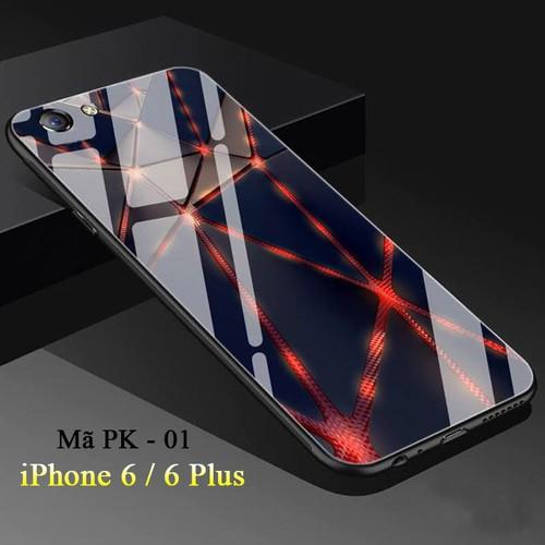 Ốp lưng iphone 6,6s mặt kính cường lực 3d sọc đỏ