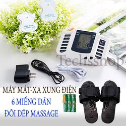 Máy massage mát xa xung điện 6 miếng dán và đôi dép massage - máy tri liệu xoa bóp massage 6 miếng dán