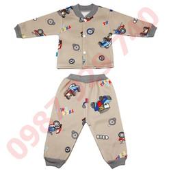 Bộ quần áo nỉ lót bông cực đẹp cho bé trai từ 4-14 kg _BNTC - ảnh thật - bộ quần áo thu đông cho bé, bộ nỉ bông