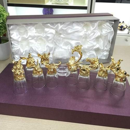 Bộ ly 12 con giáp màu vàng hàng nhập khẩu nhật bản