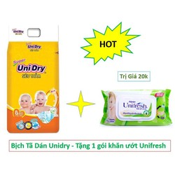 Tả Dán Siêu Thấm Unidry - Tặng 1 Gói Khăn Ướt Trị Giá 20k