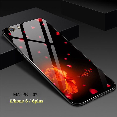 Ốp lưng iphone 6,6s mặt kính cường lực 3d hoa dâm bụt