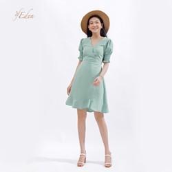 Đầm Chữ A Thời Trang Eden Cổ Tim Tay Chun - D375