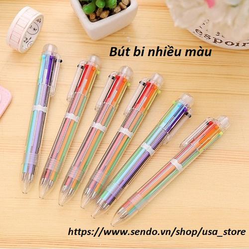 Sỉ 20 bút bi 6 màu chuyển đổi dễ dàng thân nhựa trong