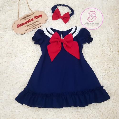 Đầm xanh than nơ đỏ cho bé yêu - hàng thiết kế cao cấp