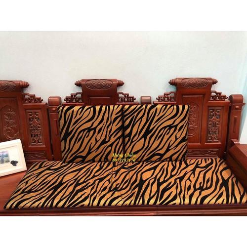 Bộ thảm trải ghế vải thô nhũ vàng 2 vuông 1 dài