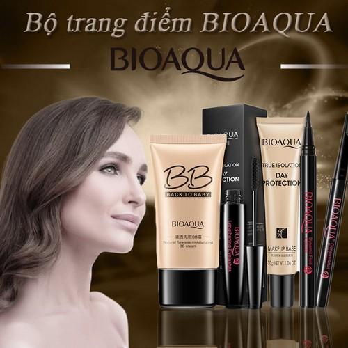 Bộ trang điểm món bioaqua kem lót + bb cream + kẻ mắt + kẻ lông mày + macara