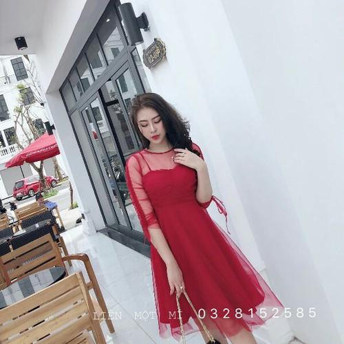 Đầm thun nữ đỏ tay dài - 13474903 , 21734062 , 15_21734062 , 105000 , Dam-thun-nu-do-tay-dai-15_21734062 , sendo.vn , Đầm thun nữ đỏ tay dài