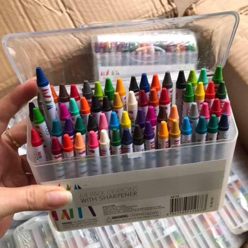 Hộp màu 64 cây crayon hộp nhựa