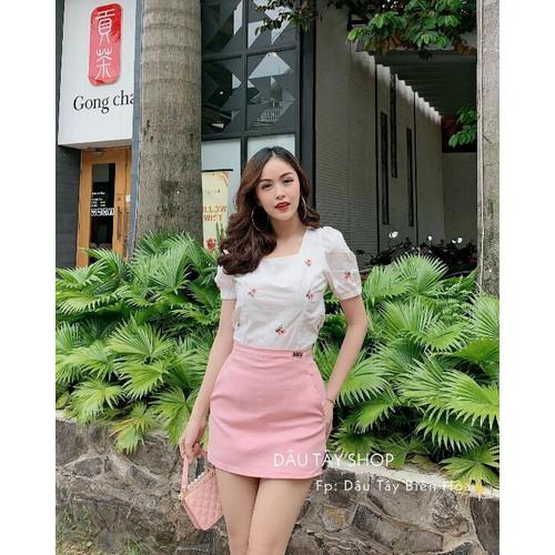 Set áo xinh và chân váy hồng