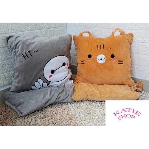 Gối mền baymax, mèo shimi 3 trong 1 cực cute, mền nhung siêu mịn, bộ chăn gối văn phòng