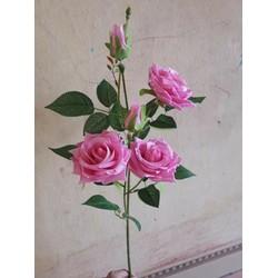 hoa hồng giả cành 3 bông