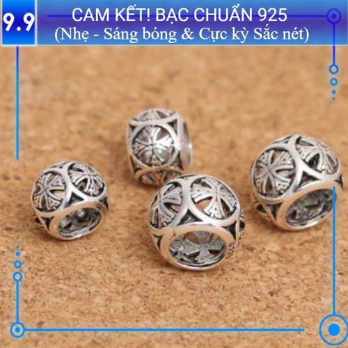 Charm bạc s925 tròn khắc hoa văn - kiểu 4 - ch075
