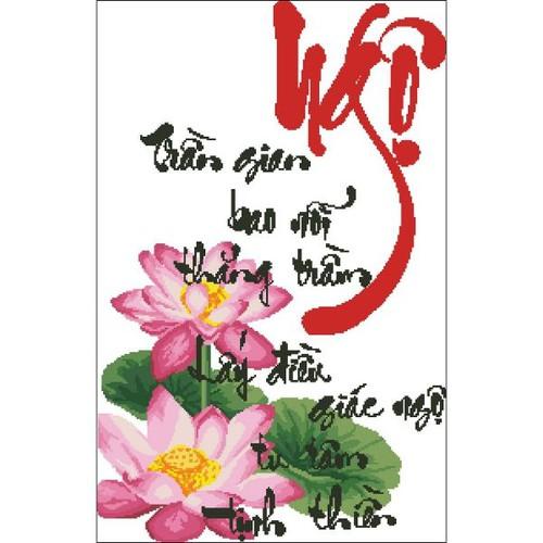 Tranh thêu chữ thập ngộ- hoa sen