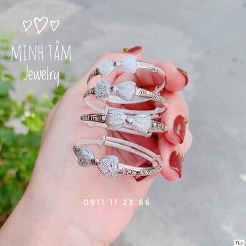 Lắc tay vòng tay nơ bạc khắc tên cho bé-minh tâm jewelry