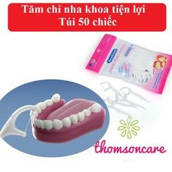 Tăm chỉ nha khoa Oraltana Túi 50 cái , Chỉ nha khoa răng , Tăm xỉa răng