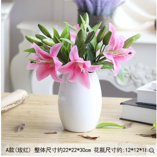 Bình hoa ly giả thấp để bàn phong cách châu âu hiệu ueraydy