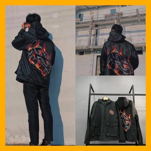 Áo khoác - áo gió nam có nón - áo khoác màu đen