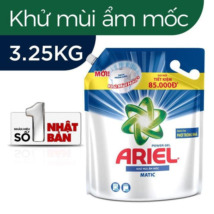 Nước giặt Ariel khử mùi ẩm mốc Túi 3,25kg - ARIEL KHỬ MÙI 3.25kg