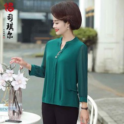 Áo trung niên tay dài cao cấp (thời trang trung niên Lolita xinh) LL573-919
