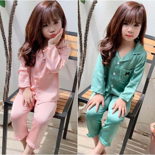 Pijama lụa bèo dài tay cho bé gái từ 8 đến 27kg