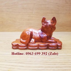 Linh Vật Tượng Con Mèo Gỗ Hương