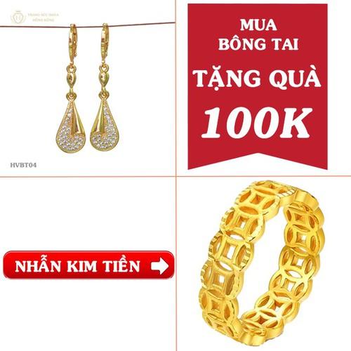 [Tặng quà 100k] khuyên, bông, hoa tai đính đá vàng non 24k - trang sức hava hồng kong
