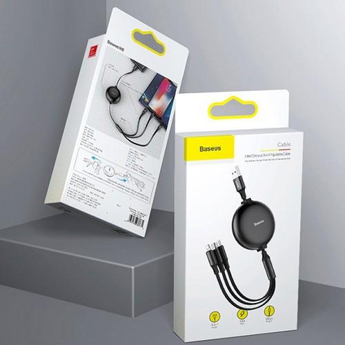 Cáp sạc điện thoại cáp sạc dây rút baseuslittleoctopus tích hợp 3 đầu type c micro usb