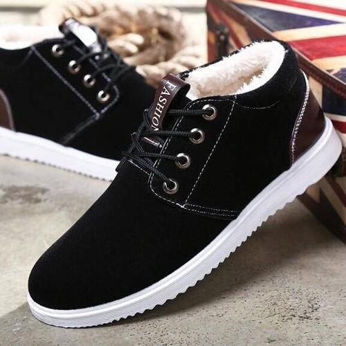 Giày nam giày thể thao nam da lộn lót lông giữ nhiệt hot 2019 gn52