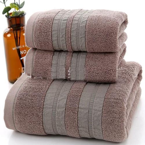 Set 3 khăn siêu thấm chất liệu 100 cotton,1 khăn tắm lớn 70x140 + 2 khăn mặt 34x75- 207
