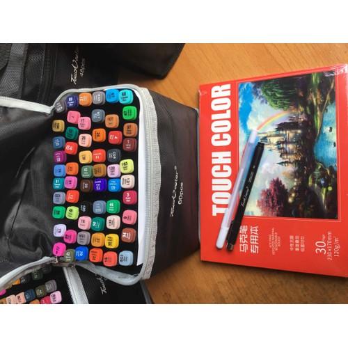Bộ 60 màu touch color tặng 2 bút và sổ vẽ