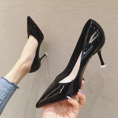 Giày cao gót nữ 7p da bóng mũi nhọn
