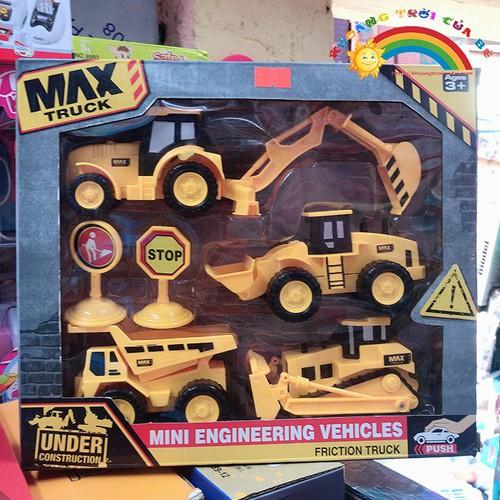 Bán đồ chơi mô hình 4 xe công trình [đồ chơi an toàn]