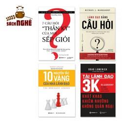 Combo 4 cuốn về Quản trị: Lãnh Đạo Bằng Câu Hỏi, 7 Câu Hỏi Thần Kỳ Của Mọi Sếp Giỏi, 10 Nguyên Tắc Vàng Của Nhà Lãnh Đạo, Tài Lãnh Đạo 3K - GETA00477