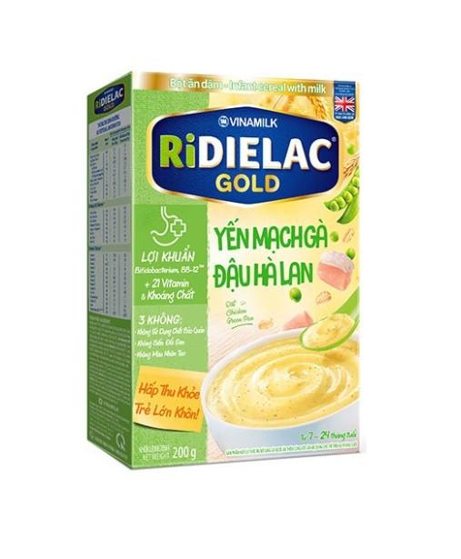 Bột ăn dặm RIDIELAC GOLD Yến mạch gà đậu hà lan hộp giấy 200g - BADYMDHL200