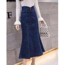 Chân váy jean dài đuôi cá - Váy nữ