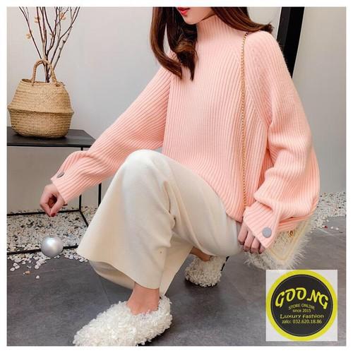 Áo len đan dày phom rộng tay phối nút hàng nhập cao cấp