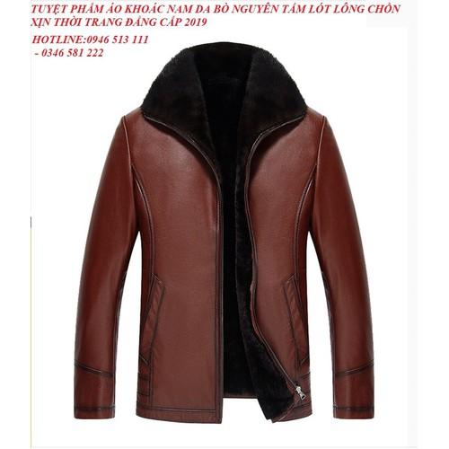 Áo khoác nam da bò nguyên tấm lót lông chồn xịn thời trang đẳng cấp mẫu 2019