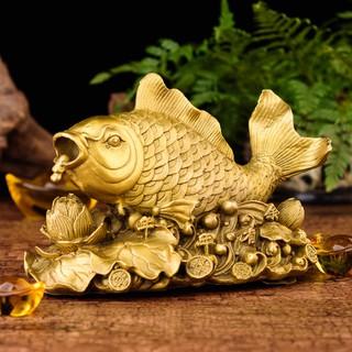 Tượng linh vật cá chép cưỡi hoa sen phun châu bằng đồng thau phong thủy Hồng Thắng - canhongoc thumbnail