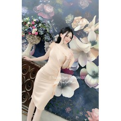 [SIÊU SALE] Đầm ôm lệch vai Vải lụa nhung cực xinh 40-55kg thiết kế cao cấp