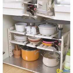 Kệ gầm bếp 2 tầng có thể co giãn