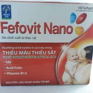 combo 2 hộp Fefovit Nano Bổ Sung Sắt Thiết Yếu Cho Phụ Nữ Có Thai Và Cho Con Bú NGười Hoa Mắt Chóng Mặt- SAT00015 - Fefovit Nano - hop 100 vien 2