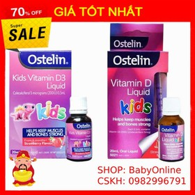 Vitamin D Ostelin Liquid Kids Dạng Nước Của Úc 20ml MẪU MỚI - VITAMIN D OSTELIN