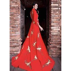 áo dài cưới đỏ thêu hạc thêu phale bao đep sang chảnh