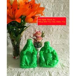 Tượng Thần Tài - Thổ Địa cỡ lớn màu xanh ngọc - size 27cm hai tượng